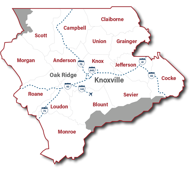 East Tennessee region map
